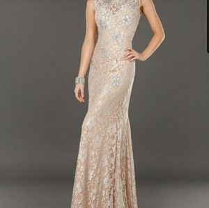 Jovani Natural Sequin Lace Evening Gown Size 6